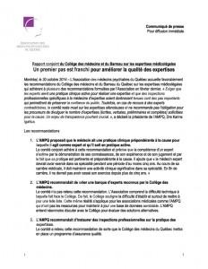 Rapport conjoint du Collège des médecins et du Barreau sur les expertises médicolégales