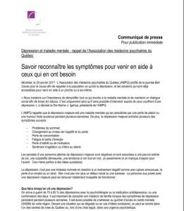 Dépression et maladie mentale : rappel de l'Association des médecins psychiatres du Québec