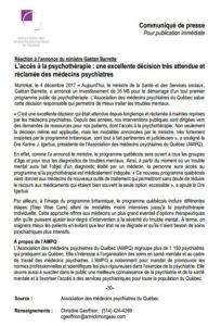 Réaction à l'annonce du ministre Gaétan Barrette | L'accès à la psychothérapie : une excellente décision très attendue et réclamée des médecins psychiatres
