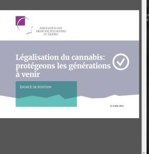 Énoncé de position - Légalisation du cannabis: protégeons les générations à venir