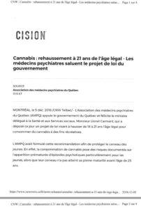 Cannabis: Rehaussement à 21 ans de l'âge légal - Les médecins psychiatres saluent le projet de Loi du gouvernement